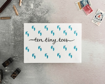 Ten Tiny Toes Letterpress New Baby Card - Colour Variations Available