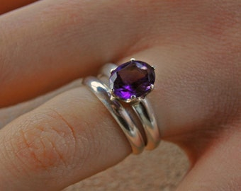 Mia - Purple Amethyst Ring, alternate engagement ring, February Birthstone, silver ring, wedding ring, cocktail ring, diamond alternative