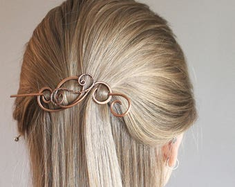 Womens Hair Accessories, Metal Hair Clip Copper Hair Barrette, Copper Wire Wrapped, Copper Jewelry Handmade, Gift for Her