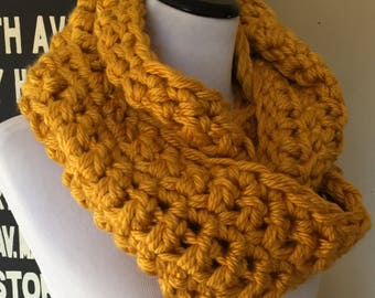 Montreal Hand Crocheted Bulky Infinity Cowl in Goldenrod Yellow - Trendy Circular Scarf