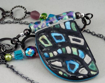 Long Rope Necklace - Gunmetal Black and Turquoise Blue Abstract Expressionist Multi Strand Reversible No. 152