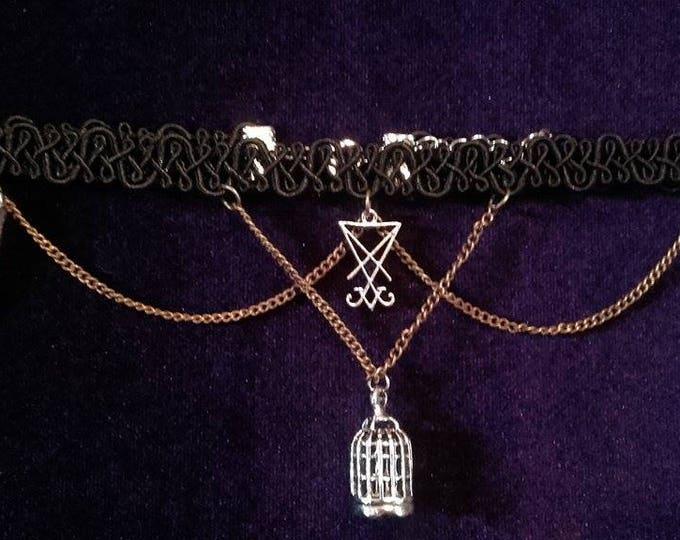 Break free from the chains Luciferian/birdcage choker - lucifer occult baphomet sigiloflucifer gothic birdcage witch magic