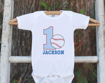 First Birthday Baseball Outfit - Personalized Bodysuit For Boy's 1st Birthday Party - Baseball Onepiece Birthday Outfit With Name & Age