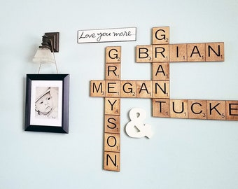large scrabble tiles, scrabble wall art, wood engraved, personalized family names, gallery wall