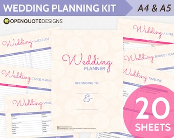 Printable Wedding Planner Organizer, Printable Wedding Timeline, Planner Wedding Binder, Wedding Budget Planner, Wedding Checklist