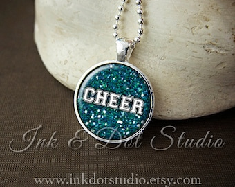 Cheer Cheerleader Necklace, Faux Glitter Cheerleading Pendant, Cheer Mom, Cheer Coach, Cheer Team - Choose Your Team Color!