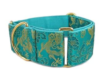 Martingale Dog Collar, Martingale Collar, Greyhound Collar, Green Dog Collar, Whippet Collar, Custom Dog Collars, Wide Dog Collar, Dog Gift