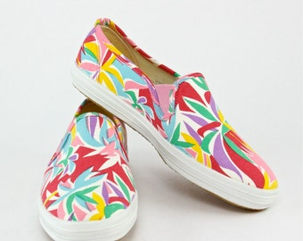 80s Keds Board Shoes Canvas Surf Print Slip On Sneakers, New Wave bright pop color tropical palm tree hipster elastic unisex tennis shoes