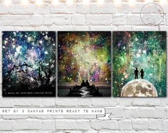 abstract canvas art - canvas wall art - canvas print set - 3 print set - splatter painting print on canvas