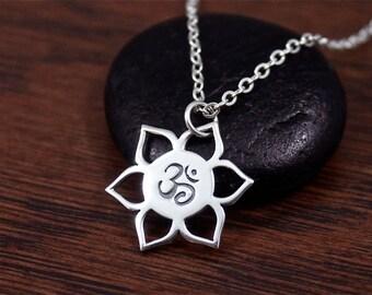 Ohm Lotus Necklace | Ohm Necklace | Lotus Necklace | Lotus Petal Necklace | Lotus Flower Ohm Necklace | Yoga Necklace | Namaste Necklace