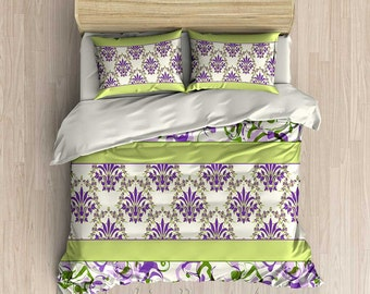 Lavender Bedding, Light Green Bedding, Purple Duvet Cover, Comforter, King Duvet, Queen, Twin Comforter, Lavender Duvet, Damask Bedding