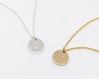 Sterling Silver Initial Disc Necklace, Personalized Round Disc Necklace, Initial Charm Necklace, Hand Stamped Jewellery, Bridesmaid Gift