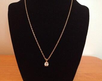 Vintage Goldtone Necklace with White Gemstone Design Pendant, Length 18''