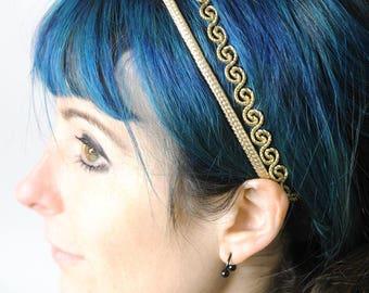 Golden swirly headband, Wedding headband, Adult headbands with elastic, Double Golden thread headband, Gift for women, MALAM