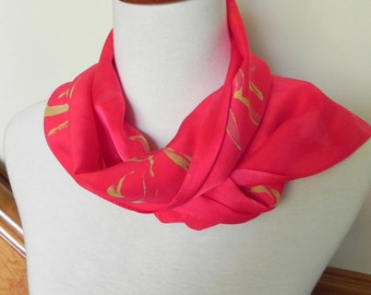 Hand Dyed Silk Scarf in Samba Red and Golden Yellow, Silk Satin Scarf #284,  Ready to Ship
