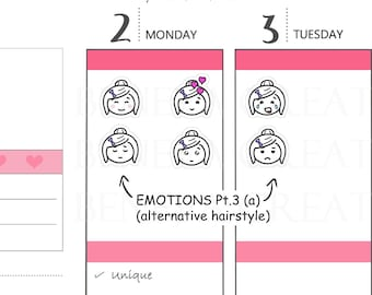 Emotions (Twigs) Pt. 3 (a) - Emotion Stickers - Emoti Planner Stickers - Mood Trackers - Emoticon - Emoji - Facial Expressions - (EM-003A)