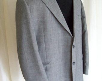 Vintage mens sports jacket, suit jacket, sport coat blazer,  80s black grey red plaid
