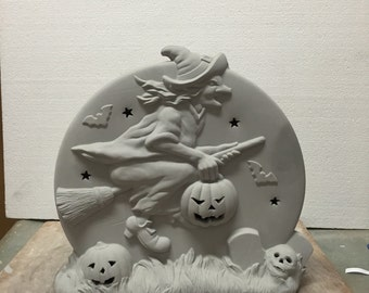 Ceramic Bisque Halloween Witch Pumpkin Scene Ready to Paint