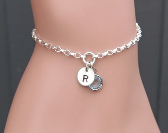 Initial Birthstone Bracelet Sterling Silver Hand Stamped For Women, Personalised Initial Bracelets For Women, Silver Jewellery UK Seller