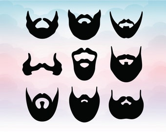 Beard vectors Gentleman silhouettes Svg Pdf Ai Eps Dxf Png file Facial hair vector Mustache and beard files for cutting machines