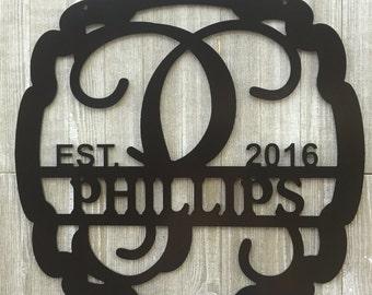 "22"" Metal Door Hanger//Wedding Gift//Anniversary Gift//Housewarming Gift/Family Name//Monogram//Personalized Gift"