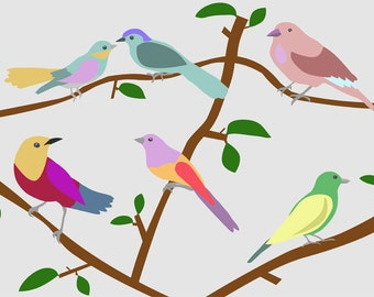 Birds poster-Birds Decorative Art Print-Colourful birds art print-Kids deco room-Nursery decor-Tropical poster-Large print-Valentine gift
