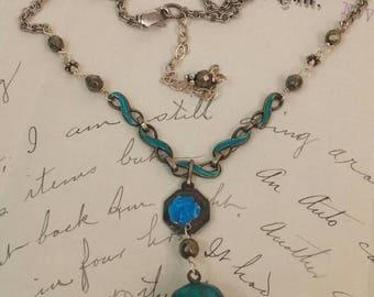 BLUE ENAMEL GRAPES sterling vintage antique assemblage necklace