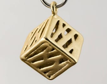 7.5mm Matte Gold Cube Drop #MFA193