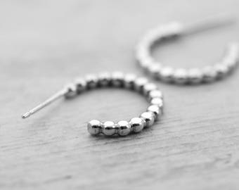 Silver Beaded Hoops Stud Earrings, SOLD AS A PAIR, sterling silver hoops, small stud earrings, beaded post hoop earrings, everyday hoops