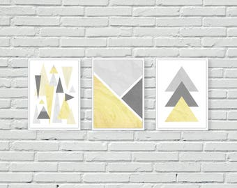 Yellow And Grey Geometric, Mustard, Wall Print, Wall Art, Triangles,  Mountains, Marble, Wall Decor, Art, Posters, Set Of Three, Abstract, A4