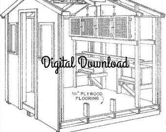 Diy chicken coop etsy chickenpigeon coop blueprints hen house nest boxes vintage woodworking plans diy poultry brooder layers bantams pdf digital download malvernweather Choice Image