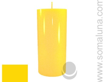 3 x 6.5 Yellow Classic Hand-poured Unscented Pillar Candles Solid Color