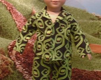 Snake Flannel Pajamas for American Boy Dolls
