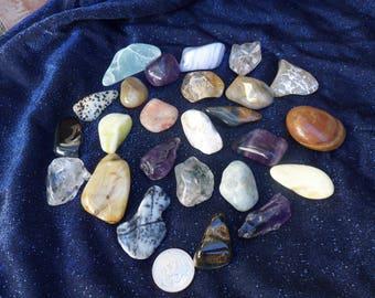 1lb Deluxe Tumbled Stones, Amethyst, Blue Lace Agate, Smoky Quartz, Dendtritic Agate, Chrysoprase, Fluorite, US, Unique, Crystals