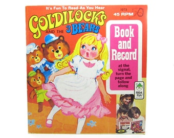Goldilocks and the Three Bears Record & Book Set Vintage 1973 Peter Pan Records Read Along Children's Story