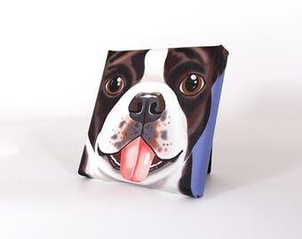 "Boston Terrier Art Print on Canvas - Black, Brown and White - Boston Terrier Art - 5"" x 5"""