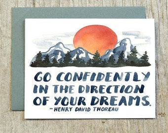 Go Confidently In The Direction Of Your Dreams, Henry David Thoreau, Congratulations, Watercolor Graduation Card by Little Truths Studio