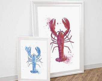Lobster watercolor art print / Red, Blue, Purple
