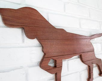 German Shorthaired Pointer Rustic Walnut Reclaimed Wood Dog Sign Pointer Wall Art #7015