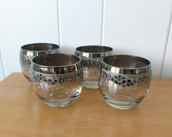 4 vintage fancy grape pattern ombre silver rim roly poly glasses