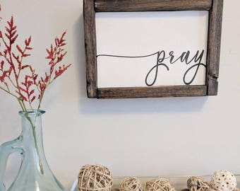 Pray Wooden Sign Wall Art Home Decor Simple