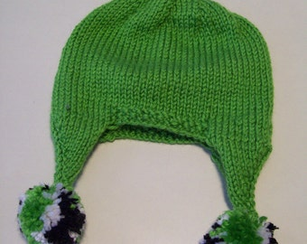Baby Hat, Baby Earflap Hat, Green Earflap Hat with Matching Booties Set Handknitted Gift for Baby by hipknitta