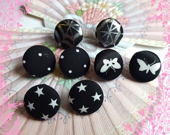 Big Handmade Fabric Black and White Button Post Earrings Stud Earrings 22.5mm