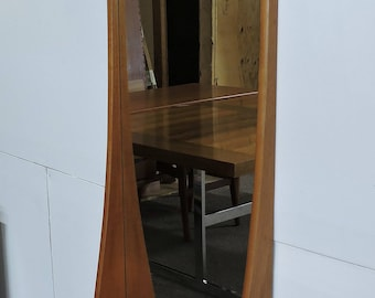 Mid Century Danish Modern Pedersen & Hansen Large Teak Mirror with Shelf