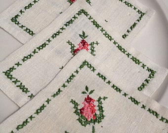 Embroidered Drink Cocktail Napkins Pink Rose Cross Stitch Green Floral Vintage Bar Set 4 ~ #5505