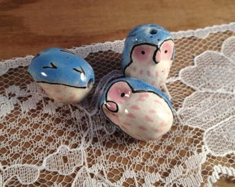 1 - Owl Bead - Owl Charms Woodland Blue and Pink Owls Handpainted DFLCHARM
