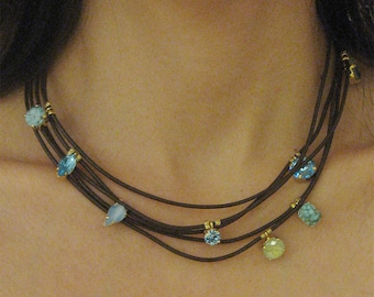 Leather Layered Necklace, Turquoise Necklace, Everyday Necklace, Boho Leather Necklace, Necklace For Women, Crystal Necklace, Birthday Gift