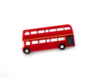 Double Decker Bus brooch, acrylic brooch, London bus, British theme, laser cut acrylic, bus brooch, London underground, double decker bus