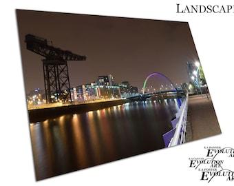 city of Glasgow at night Squinty bridge river Clyde Scotland Art X1518