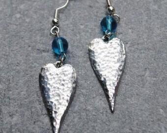 Long Heart Pewter Earrings